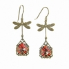 Red Bejeweled Dragonfly Earrings