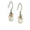 Coin Pearl Crystal Cluster Earrings