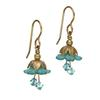 Teal Fairy Flower Short Earrings