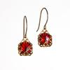Ruby Red Glass Filigree Short Earrings